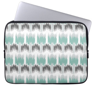 Gray Mint Aqua Modern Abstract Floral Ikat Pattern Laptop Sleeve