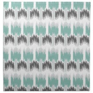Gray Mint Aqua Modern Abstract Floral Ikat Pattern Napkin