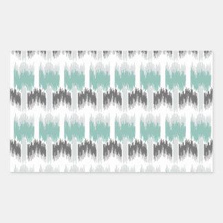 Gray Mint Aqua Modern Abstract Floral Ikat Pattern Rectangular Sticker