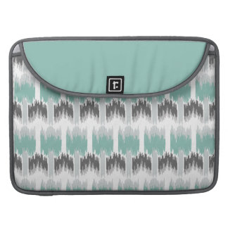 Gray Mint Aqua Modern Abstract Floral Ikat Pattern Sleeve For MacBook Pro