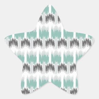 Gray Mint Aqua Modern Abstract Floral Ikat Pattern Star Sticker