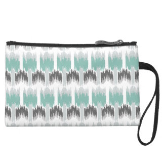 Gray Mint Aqua Modern Abstract Floral Ikat Pattern Suede Wristlet