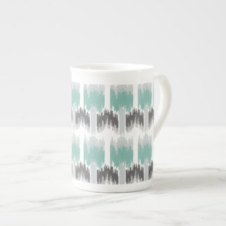 Gray Mint Aqua Modern Abstract Floral Ikat Pattern Tea Cup