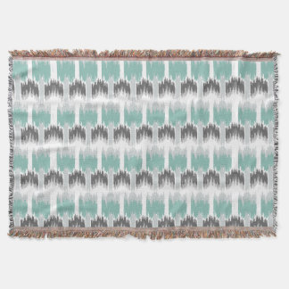 Gray Mint Aqua Modern Abstract Floral Ikat Pattern Throw Blanket