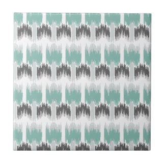 Gray Mint Aqua Modern Abstract Floral Ikat Pattern Tile