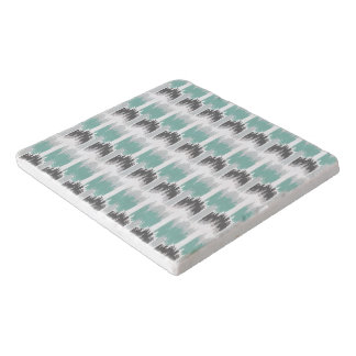 Gray Mint Aqua Modern Abstract Floral Ikat Pattern Trivet