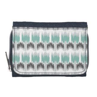 Gray Mint Aqua Modern Abstract Floral Ikat Pattern Wallet