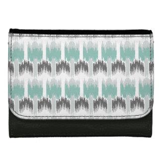 Gray Mint Aqua Modern Abstract Floral Ikat Pattern Wallets