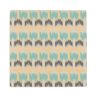 Gray Mint Aqua Modern Abstract Floral Ikat Pattern Wood Coaster
