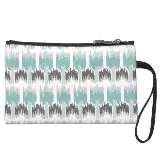 Gray Mint Aqua Modern Abstract Floral Ikat Pattern Wristlet Purses