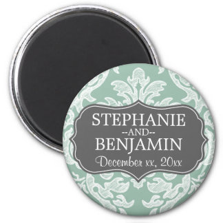 Gray & Mint Damask Pattern Wedding Favor 6 Cm Round Magnet