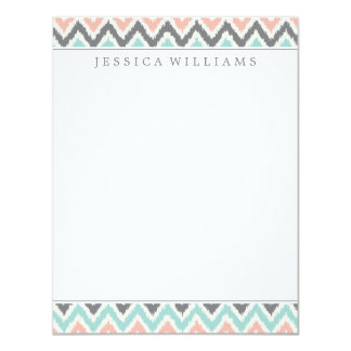 Gray Mint Peach Zigzag Ikat Pattern Card