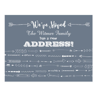Gray Modern Arrows Doodles Moving Announcement Postcard