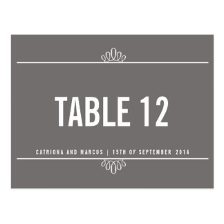 Gray Modern Floral Wedding Table Number Postcard