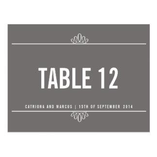 Gray Modern Floral Wedding Table Number Postcard