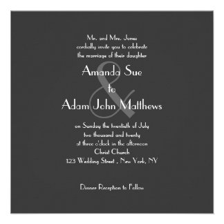 Gray Modern Monogram Wedding Invitations