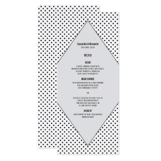 Gray Modern Polka Dots Wedding Menu Card
