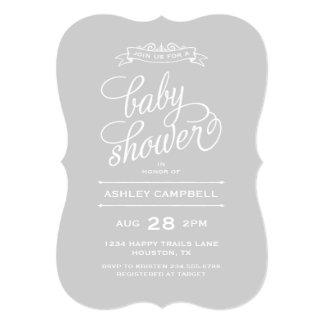 Gray Modern Typography Baby Shower 13 Cm X 18 Cm Invitation Card