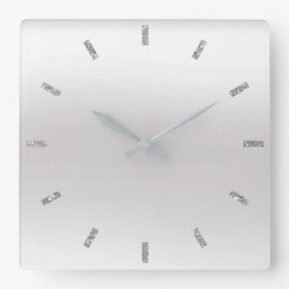 Gray Monochromatic White Ombre Minimal Glitter Square Wall Clock