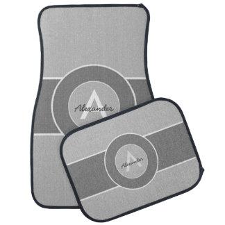 Gray Monogram Personalized Floor Mat
