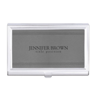 Gray Monotones Faux Leather Texture Business Card Holder