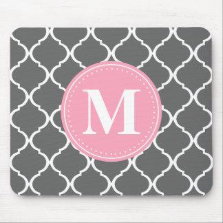 Gray Moroccan Lattice Pink Monogram Mouse Pad