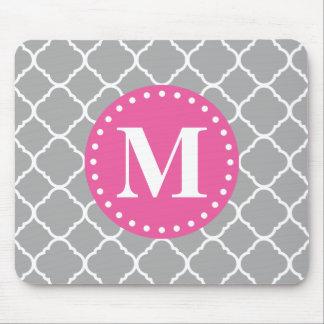 Gray Moroccan Quatrefoil Pattern Pink Monogram Mouse Pad