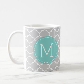 Gray Morocco Quatrefoil Pattern w/ monogram Coffee Mug