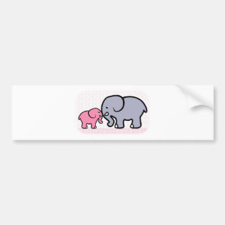 Gray Mother and Pink Baby Elephant Bumper Stickers