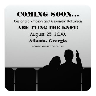 Gray Movie Theater Save the Date 13 Cm X 13 Cm Square Invitation Card
