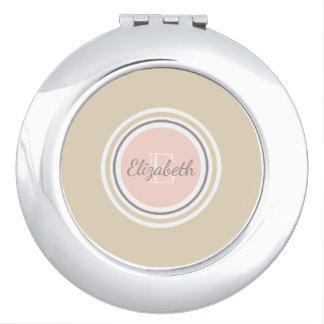 Gray Name & White Monogram Pink & Beige Makeup Mirror