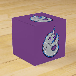 Gray Narwhal Whale With Spots Ink Drawing Design Favour Box
