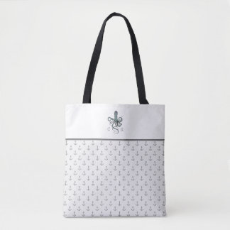 Gray Nautical Anchors and Octopus with Monogram Tote Bag