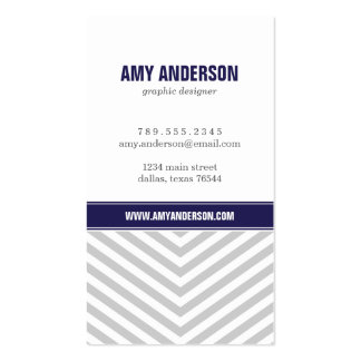 Gray Navy Blue Modern Chevron Stripes Business Card Templates
