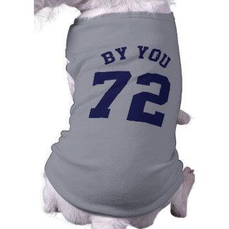 Gray & Navy Blue Pets   Sports Jersey Design Sleeveless Dog Shirt