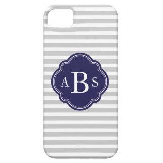 Gray & Navy Blue Skinny Stripes Custom Monogram iPhone 5 Covers