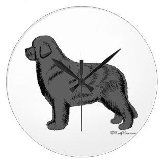 Gray Newfoundland Dog Wall Clock