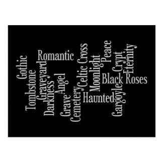 Gray on black cemetery lover postcard