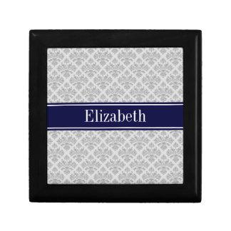 Gray on Gray Damask #3 Navy Blue Name Monogram Small Square Gift Box