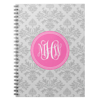 Gray on Lt Gray Damask #3 Hot Pink Vine Monogram Spiral Notebook