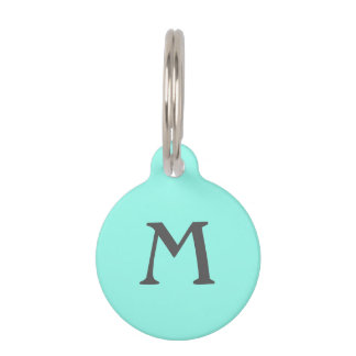Gray on Teal Monogram Pet ID Tag