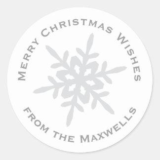 Gray on White Snowflake Envelope Closure Sticker