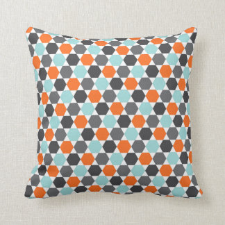 Gray orange aqua blue geometric hexagon pattern cushion