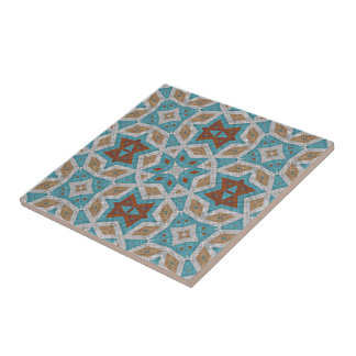 Gray Orange Brown Turquoise Ethnic Pattern Art Tile