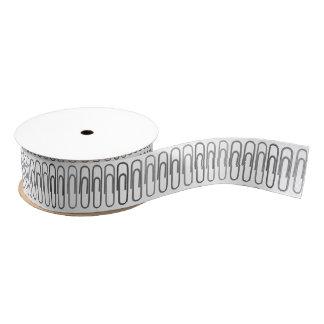 Gray Paperclips Grosgrain Ribbon