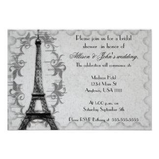Gray Paris Grunge Bridal Shower Invitation