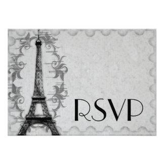Gray Paris Grunge RSVP Card Invitations