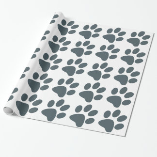 Gray Paw Print Wrapping Paper