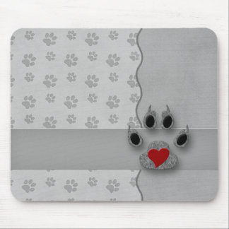 Gray Paw Prints with a Red Heart Pet Lover Mouse Pad