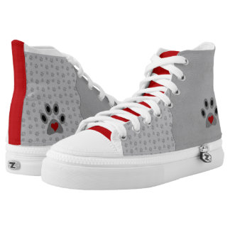 Gray Paw Prints with Red Trim and Heart High Tops